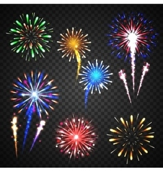Festive fireworks collection of different colors vector