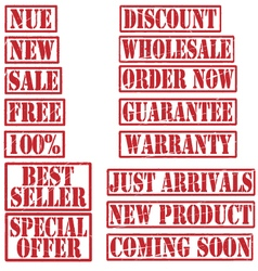 Grunge commercial product rubber stamp set vector