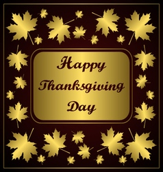 Happy thanksgiving day congratulation on gold vector