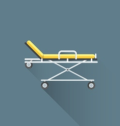 Flat medical stretcher on wheels icon vector