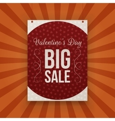 Valentines day big sale hanging paper banner vector