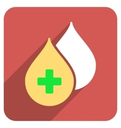 Medical drops flat rounded square icon with long vector