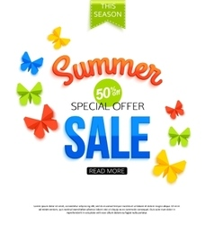 Super spring sale banner with paper flowers over vector