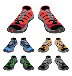 Colored sneakers shoes set front view vector