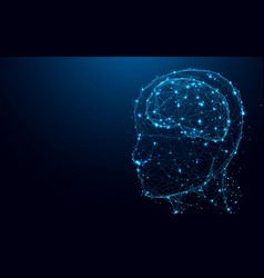 abstract head and brain from lines and triangles vector image vector image