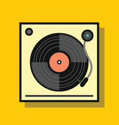Audio vinyl player in flat style with shadow vector