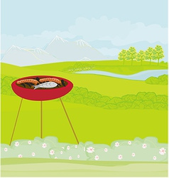 Barbecue party in the park invitation vector