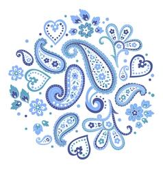 Beautiful indian paisley circle ornament decorativ vector