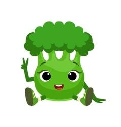 Big eyed cute girly broccoli character sitting vector