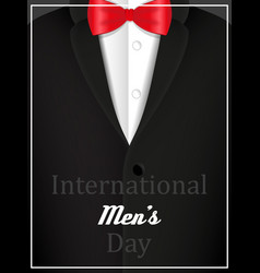black jacket and red bow tie with text vector image