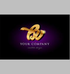 bv b v 3d gold golden alphabet letter metal logo vector image