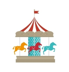 Carousel carnival attraction vector