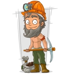 Cartoon bearded digger with coal in helmet vector