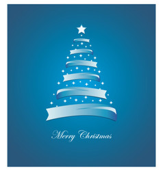 Christmas card with stylized white and blue tree vector