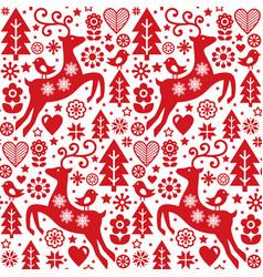 christmas folk red seamless pattern scandi vector image