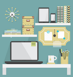 Close up of flat modern and trendy working place vector