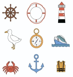 Collection of sea elements vector image