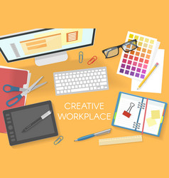 colorful office workplace top view template vector image vector image
