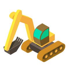 excavator icon isometric 3d style vector image