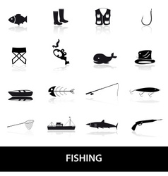 fishing icons set eps10 vector image vector image