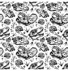 Fossil seamless pattern with dinosaur bones vector