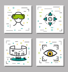 Four virtual reality linear icons vector