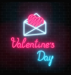 Glowing neon happy valentines day greeting sign vector