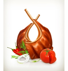 Grilled meat ribs with tomato onion dill and chili vector image vector image