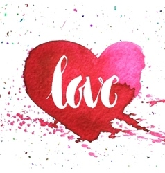 Hand-drawn watercolour red heart vector image vector image