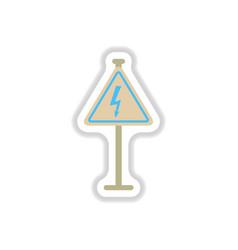 In paper sticker style danger vector