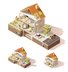 Isometric low poly house cross-section vector