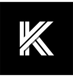 Letter K wide white stripes Logo monogram emblem vector image vector image