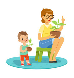 little boy learning about plants with teacher vector image