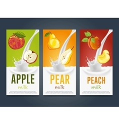 Milkshake concept with milk splash and fruit vector