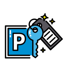 Parking black outline icon sharing economy concept vector