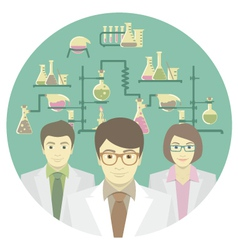 Scientists in the chemical laboratory vector