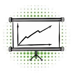 Screen arrow graph board comics icon vector