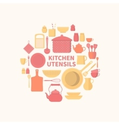 Set of kitchen icons vector image