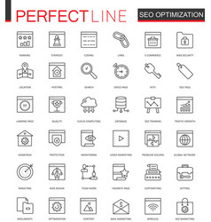 set of seo search engine optimization thin vector image