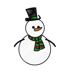 Snowman christmas character winter hat scarf vector