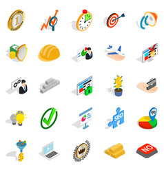 solution of the problem icons set isometric style vector image