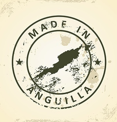 Stamp with map of anguilla vector