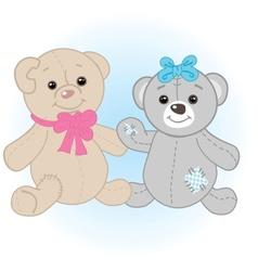 Teddy bears couple vector image vector image