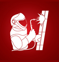 Welder working a man welding steel industry vector