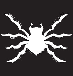 White spider on a black background vector
