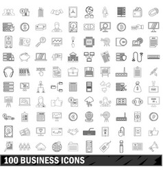 100 business icons set outline style vector image