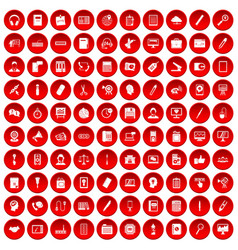100 office work icons set red vector