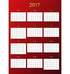 Calendar 2017 year template vector