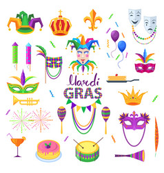 Mardi gras carnival elements colourful collection vector