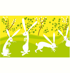 Easter happy rabbits vector